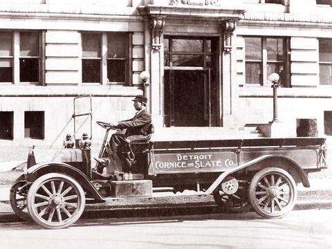 Detroit Slate & Cornice Work Truck circa 1919